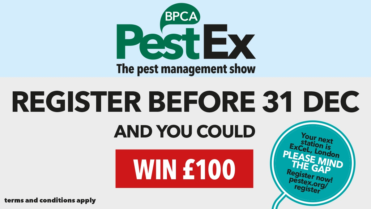 Win £100 for registering for PestEx